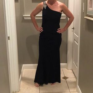 Vince Camuto one shoulder beaded gown